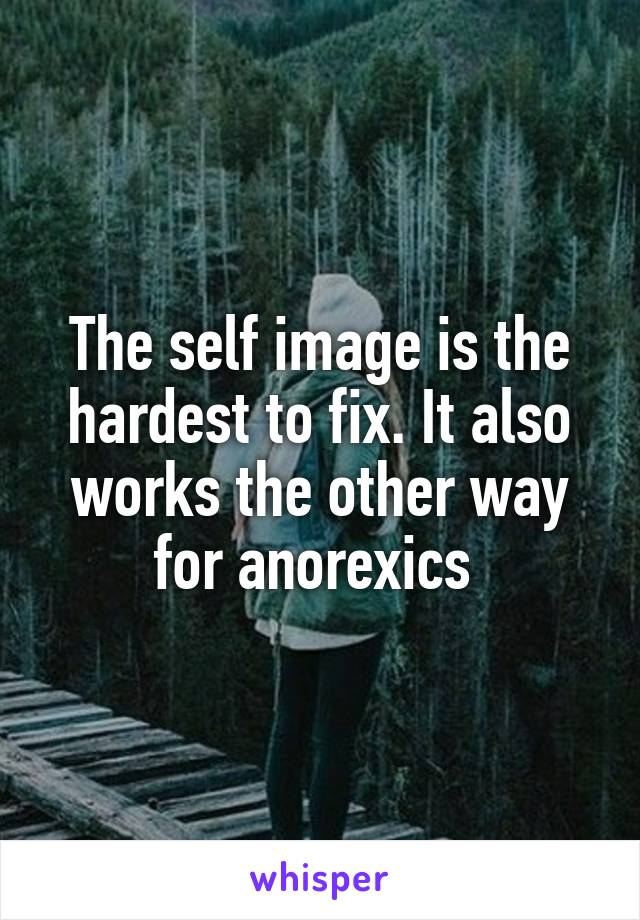 The self image is the hardest to fix. It also works the other way for anorexics