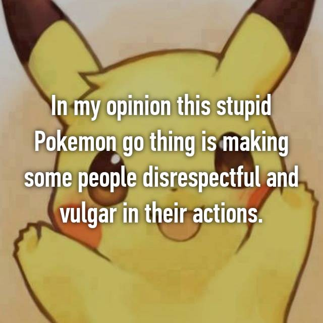 In my opinion this stupid Pokemon go thing is making some people disrespectful and vulgar in their actions.