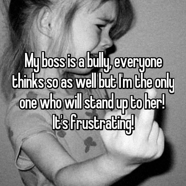 My boss is a bully, everyone thinks so as well but I'm the only one who will stand up to her!  It's frustrating!
