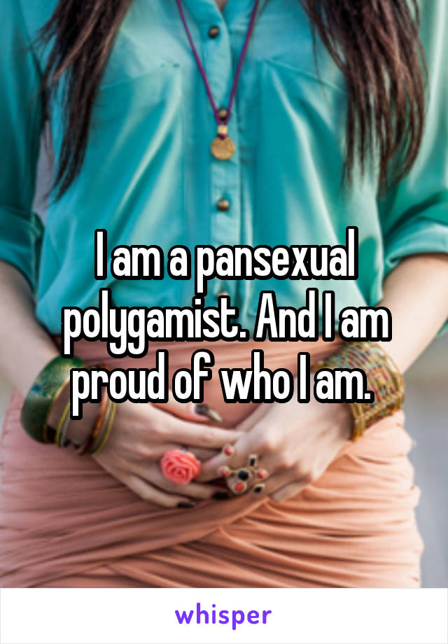 I am a pansexual polygamist. And I am proud of who I am.