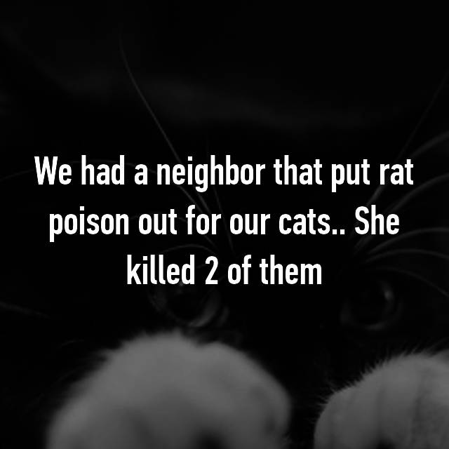 We had a neighbor that put rat poison out for our cats.. She killed 2 of them 😞
