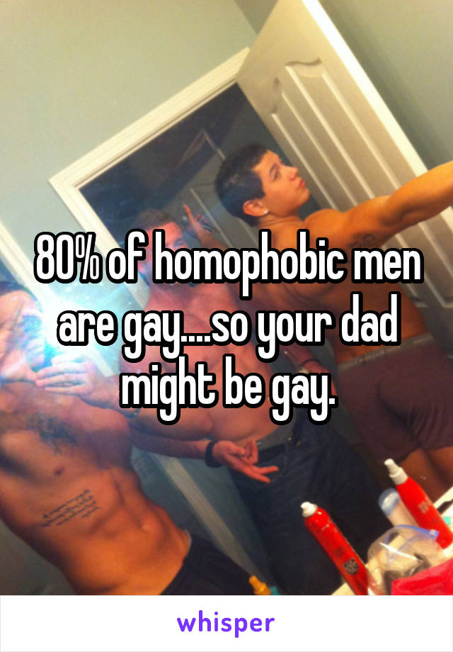 80% of homophobic men are gay....so your dad might be gay.