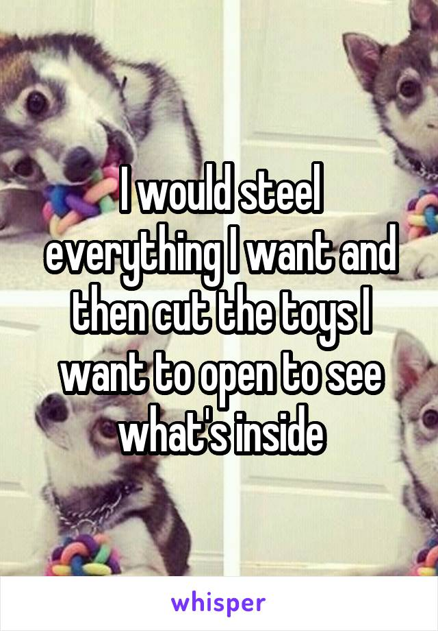 I would steel everything I want and then cut the toys I want to open to see what's inside