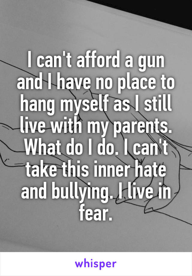 I can't afford a gun and I have no place to hang myself as I still live with my parents. What do I do. I can't take this inner hate and bullying. I live in fear.