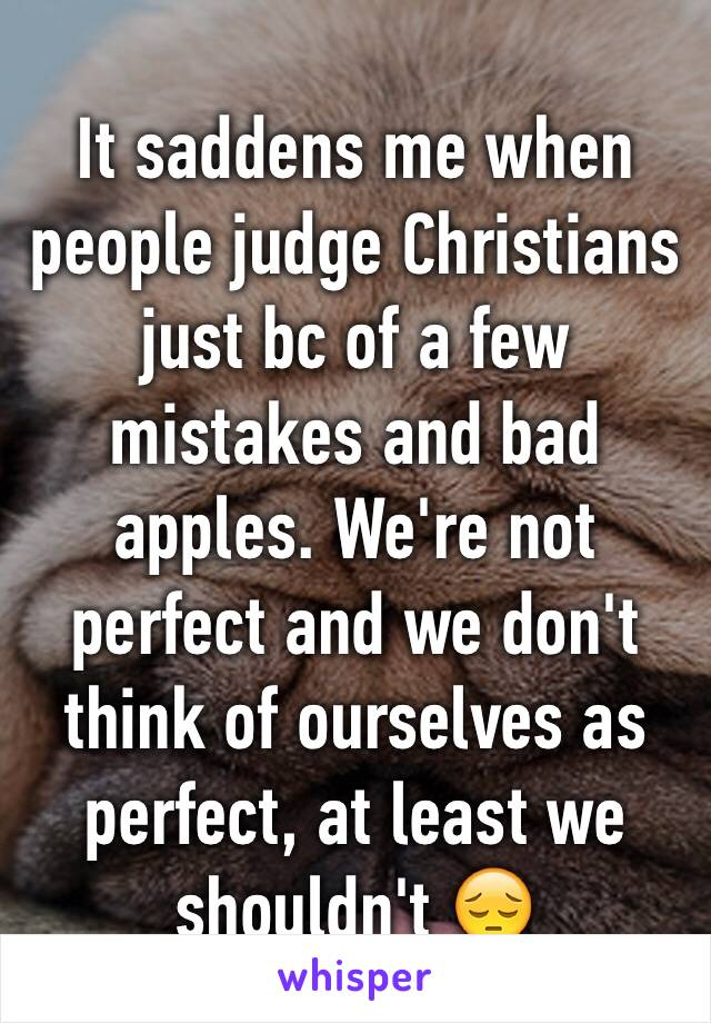 It saddens me when people judge Christians just bc of a few mistakes and bad apples. We're not perfect and we don't think of ourselves as perfect, at least we shouldn't 😔