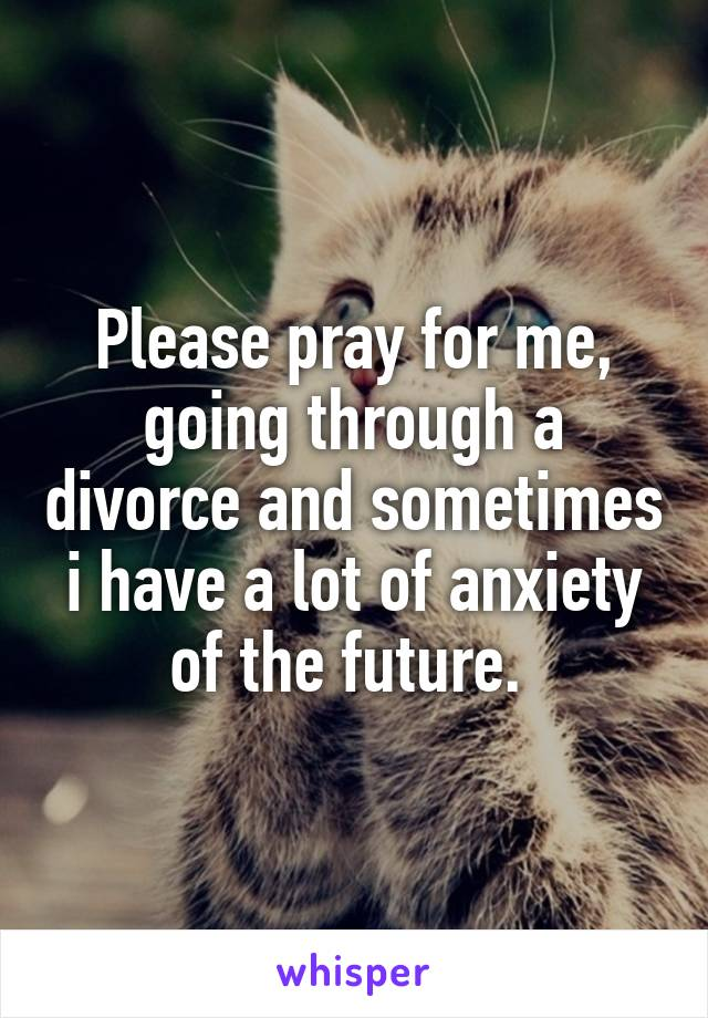 Please pray for me, going through a divorce and sometimes i have a lot of anxiety of the future.