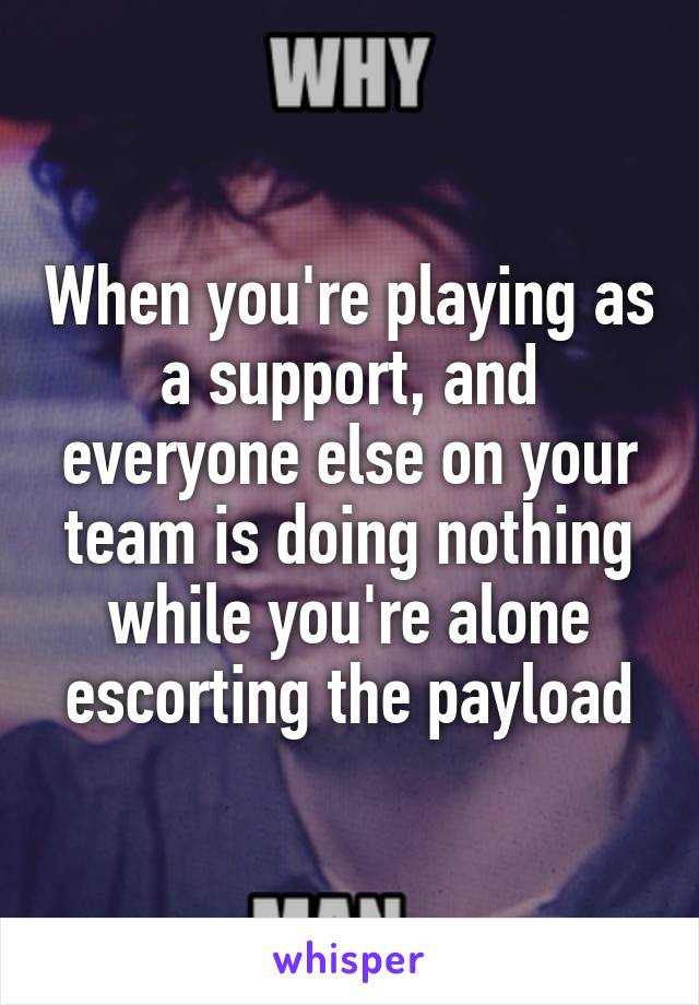 When you're playing as a support, and everyone else on your team is doing nothing while you're alone escorting the payload