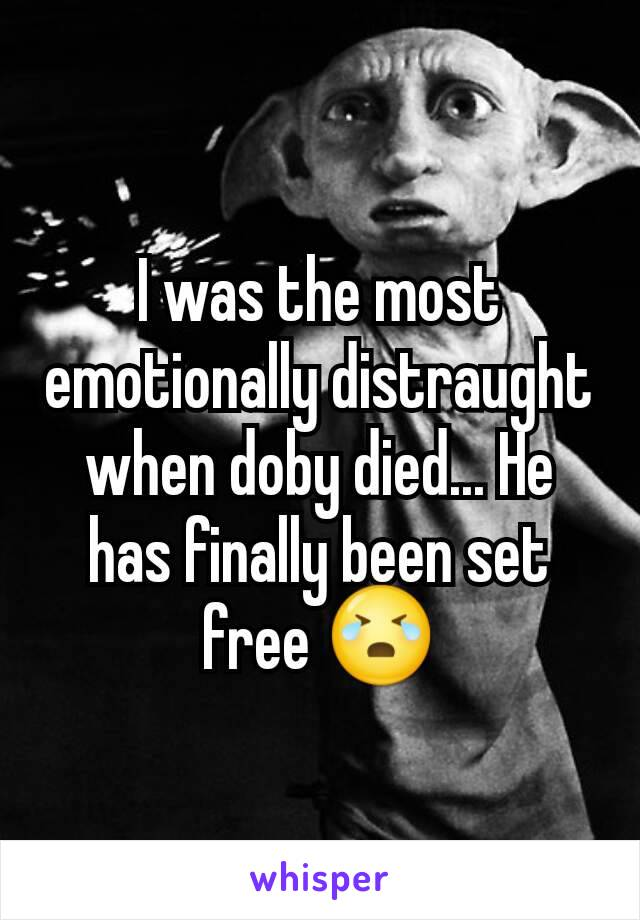 I was the most emotionally distraught when doby died... He has finally been set free 😭