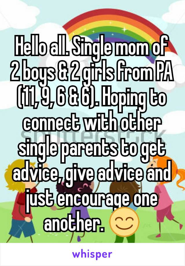 Hello all. Single mom of 2 boys & 2 girls from PA (11, 9, 6 & 6). Hoping to connect with other single parents to get advice, give advice and just encourage one another. 😊
