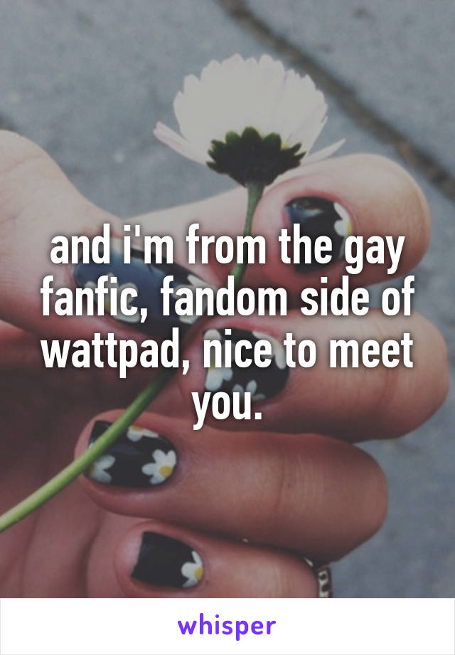 and i'm from the gay fanfic, fandom side of wattpad, nice to meet you.