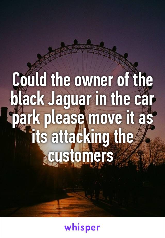 Could the owner of the black Jaguar in the car park please move it as its attacking the customers