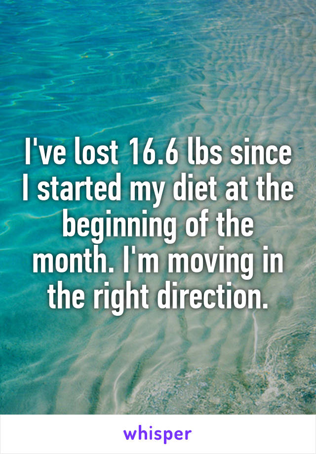 I've lost 16.6 lbs since I started my diet at the beginning of the month. I'm moving in the right direction.