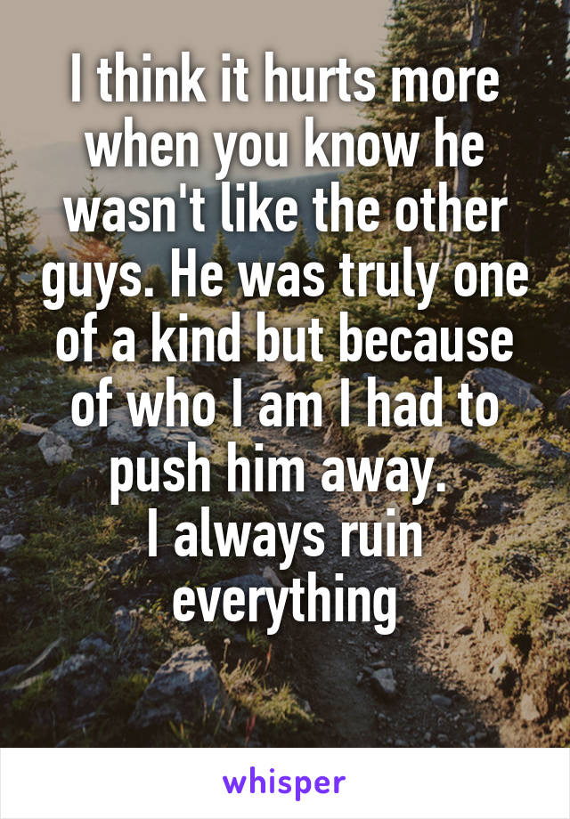 I think it hurts more when you know he wasn't like the other guys. He was truly one of a kind but because of who I am I had to push him away.  I always ruin everything