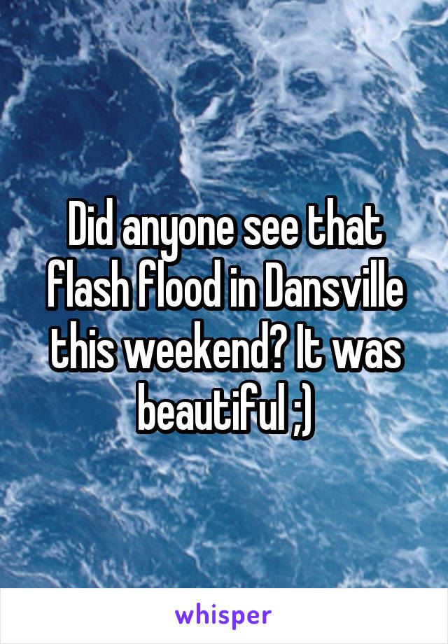 Did anyone see that flash flood in Dansville this weekend? It was beautiful ;)