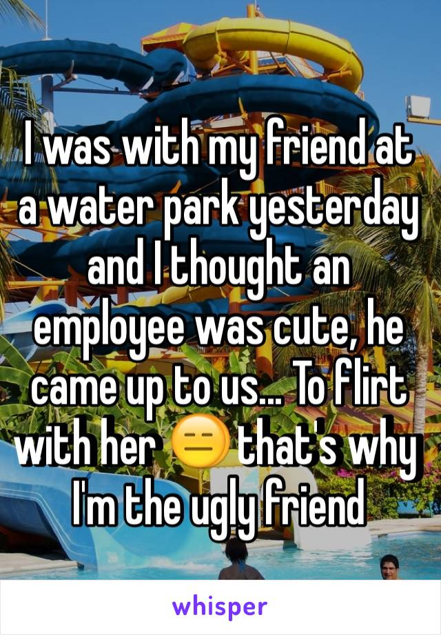 I was with my friend at a water park yesterday and I thought an employee was cute, he came up to us... To flirt with her 😑 that's why I'm the ugly friend