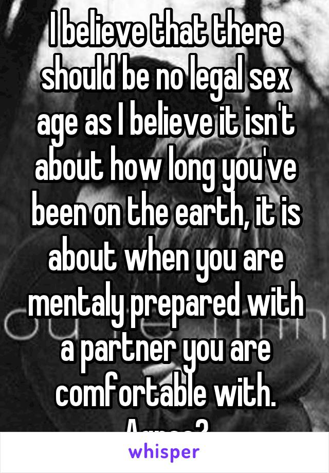 I believe that there should be no legal sex age as I believe it isn't about how long you've been on the earth, it is about when you are mentaly prepared with a partner you are comfortable with. Agree?