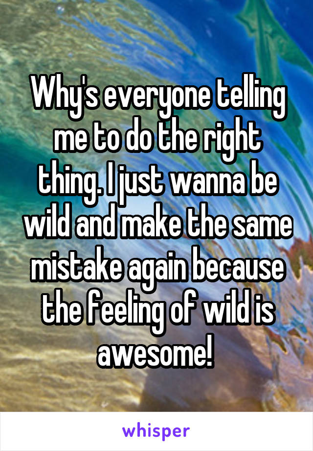 Why's everyone telling me to do the right thing. I just wanna be wild and make the same mistake again because the feeling of wild is awesome!