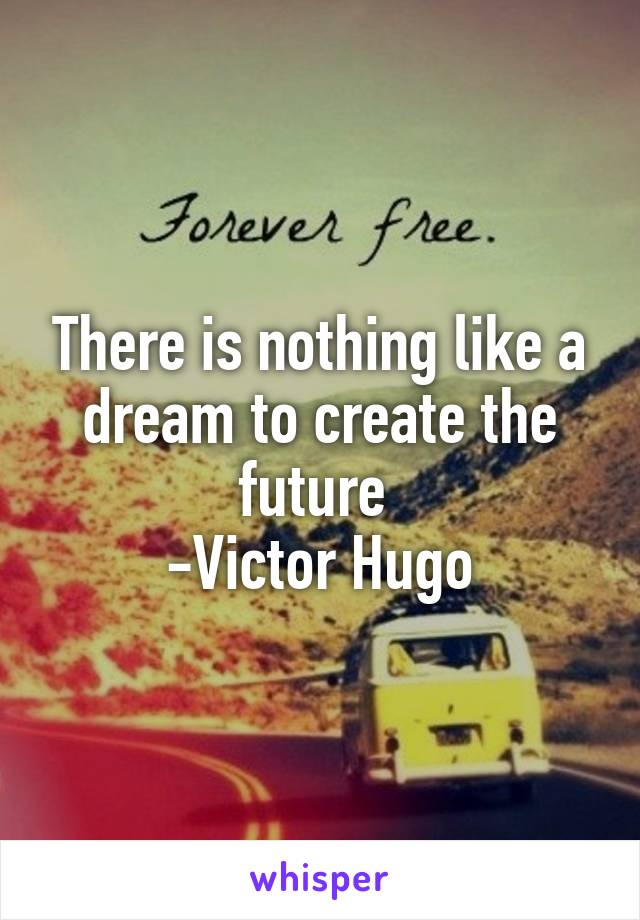 There is nothing like a dream to create the future  -Victor Hugo