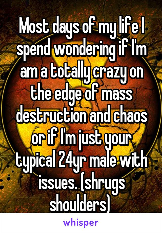 Most days of my life I spend wondering if I'm am a totally crazy on the edge of mass destruction and chaos or if I'm just your typical 24yr male with issues. (shrugs shoulders)