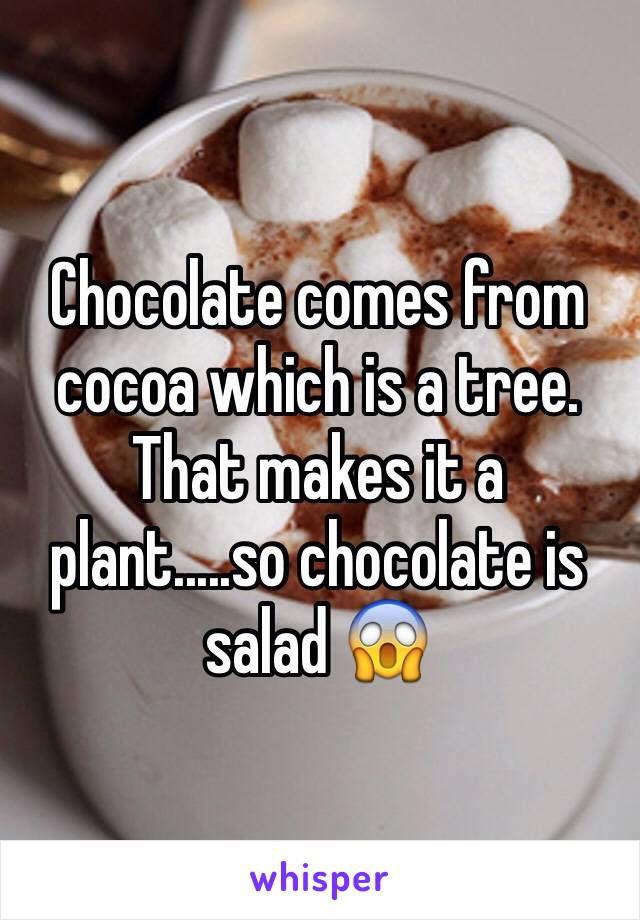 Chocolate comes from cocoa which is a tree. That makes it a plant.....so chocolate is salad 😱