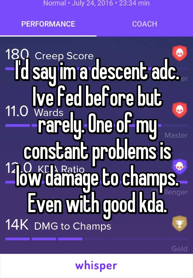 I'd say im a descent adc. Ive fed before but rarely. One of my constant problems is low damage to champs. Even with good kda.