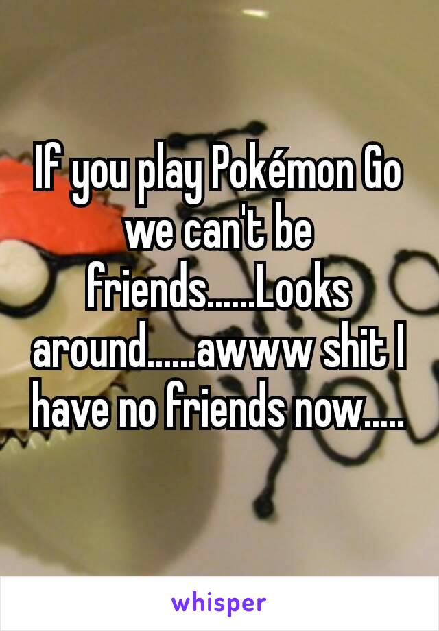 If you play Pokémon Go we can't be friends......Looks around......awww shit I have no friends now.....