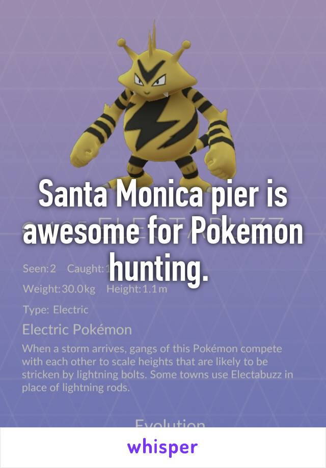 Santa Monica pier is awesome for Pokemon hunting.
