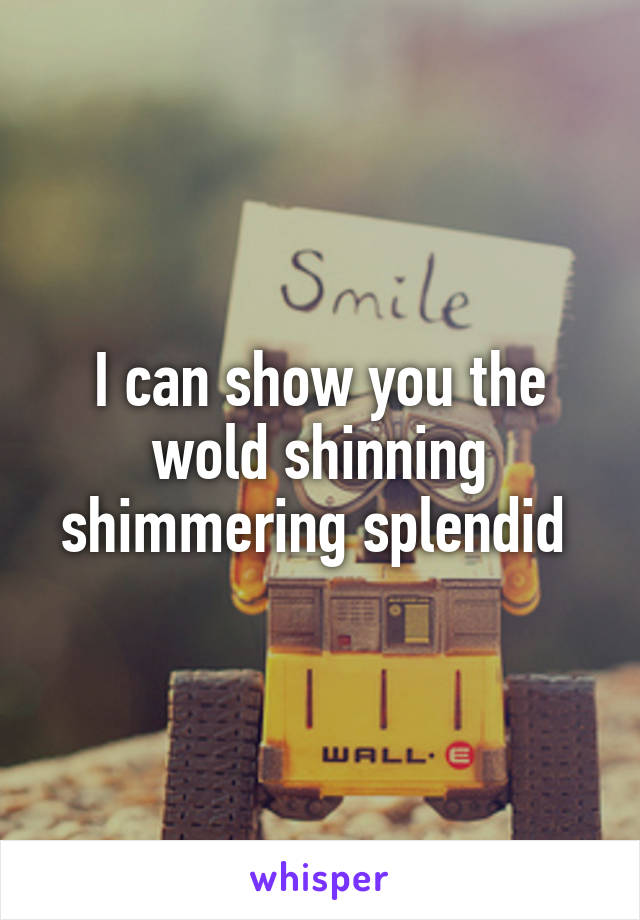I can show you the wold shinning shimmering splendid