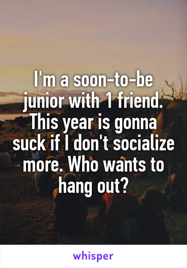 I'm a soon-to-be junior with 1 friend. This year is gonna suck if I don't socialize more. Who wants to hang out?