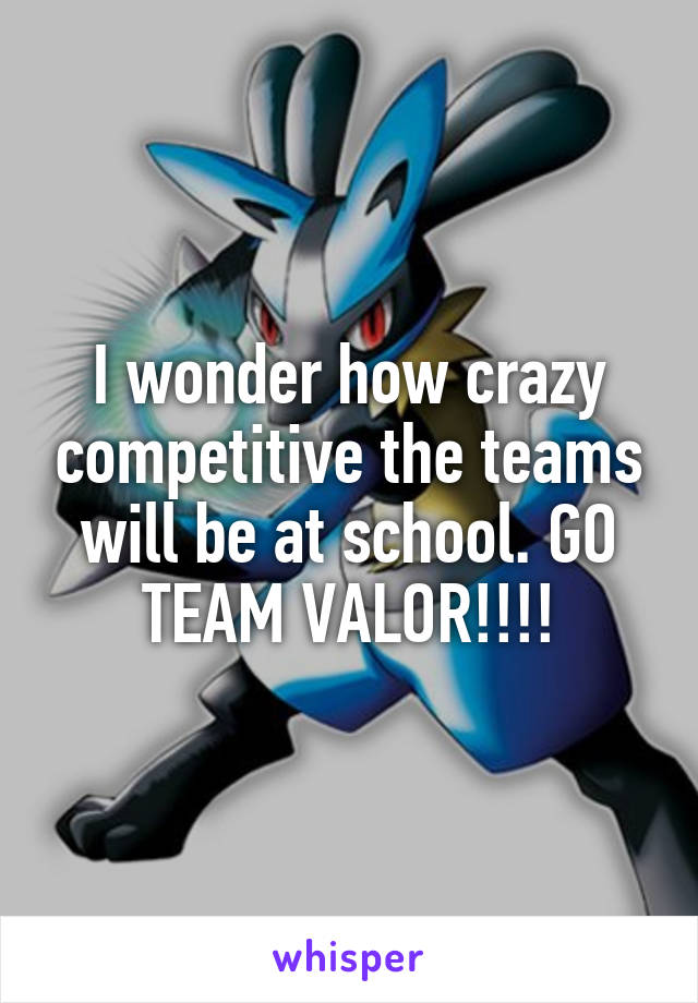 I wonder how crazy competitive the teams will be at school. GO TEAM VALOR!!!!