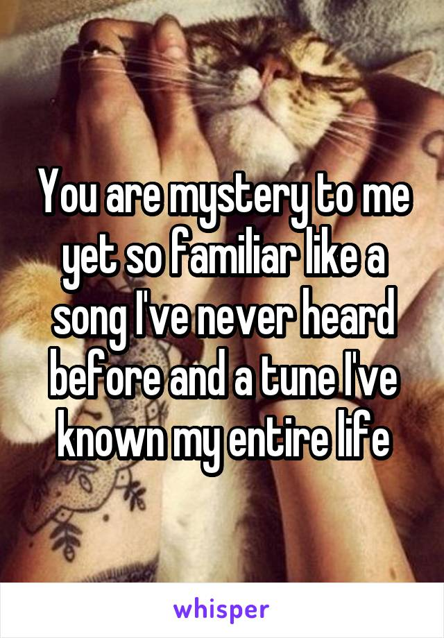 Mystery To Me >> You Are Mystery To Me Yet So Familiar Like A Song I Ve Never Heard