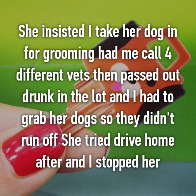 She insisted I take her dog in for grooming had me call 4 different vets then passed out drunk in the lot and I had to grab her dogs so they didn't run off She tried drive home after and I stopped her