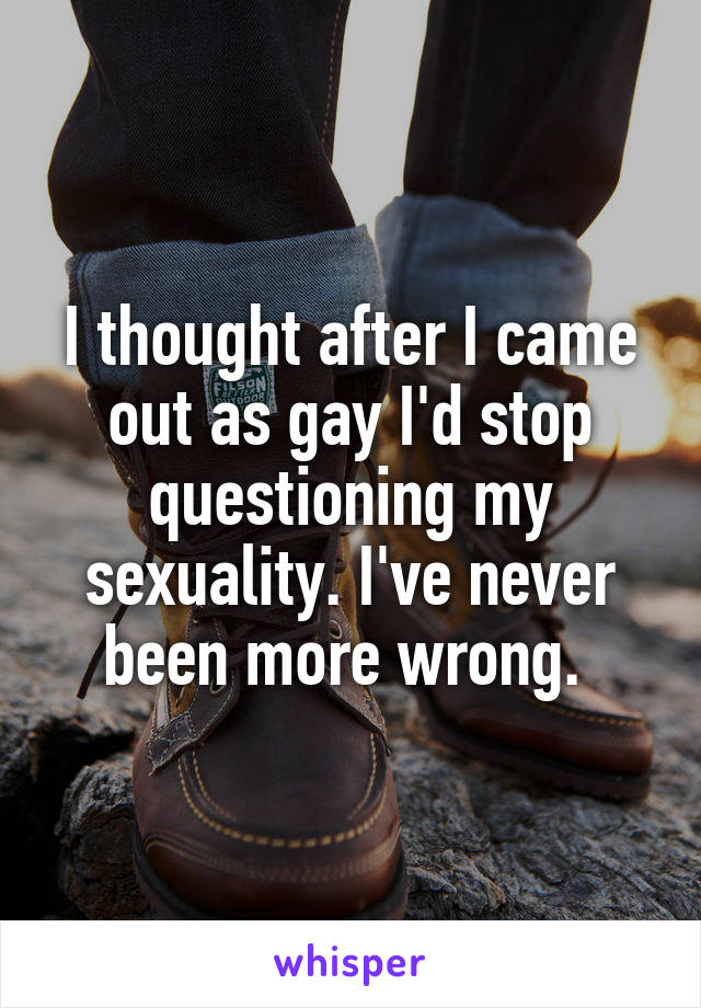 I thought after I came out as gay I'd stop questioning my sexuality. I've never been more wrong.