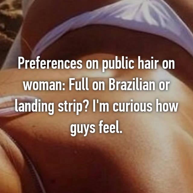 Landing strip on woman have