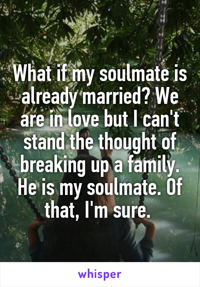 What if my soulmate is already married? We are in love but I can't stand the thought of breaking up a family. He is my soulmate. Of that, I'm sure.
