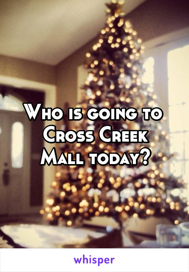 Who is going to  Cross Creek Mall today?