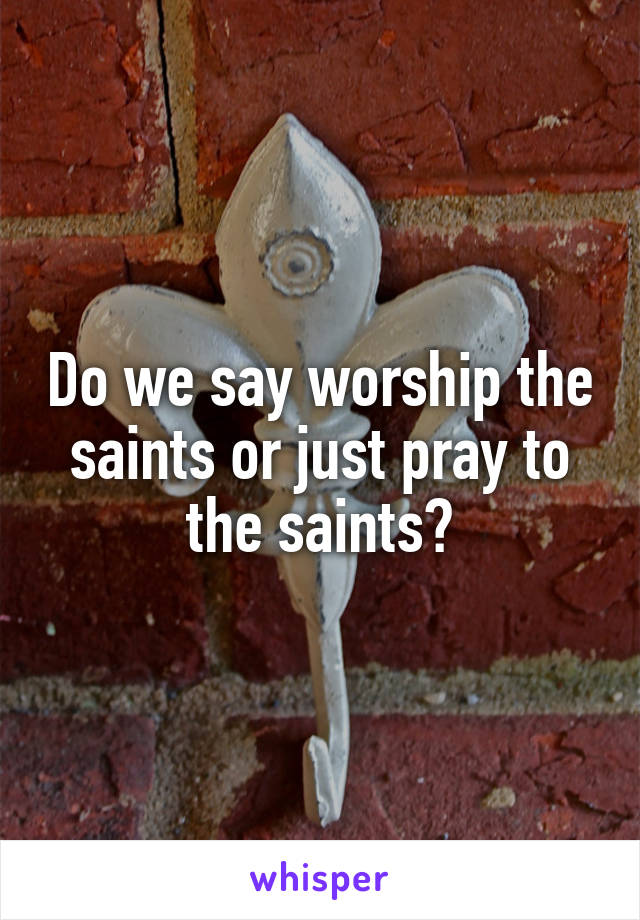 Do we say worship the saints or just pray to the saints?