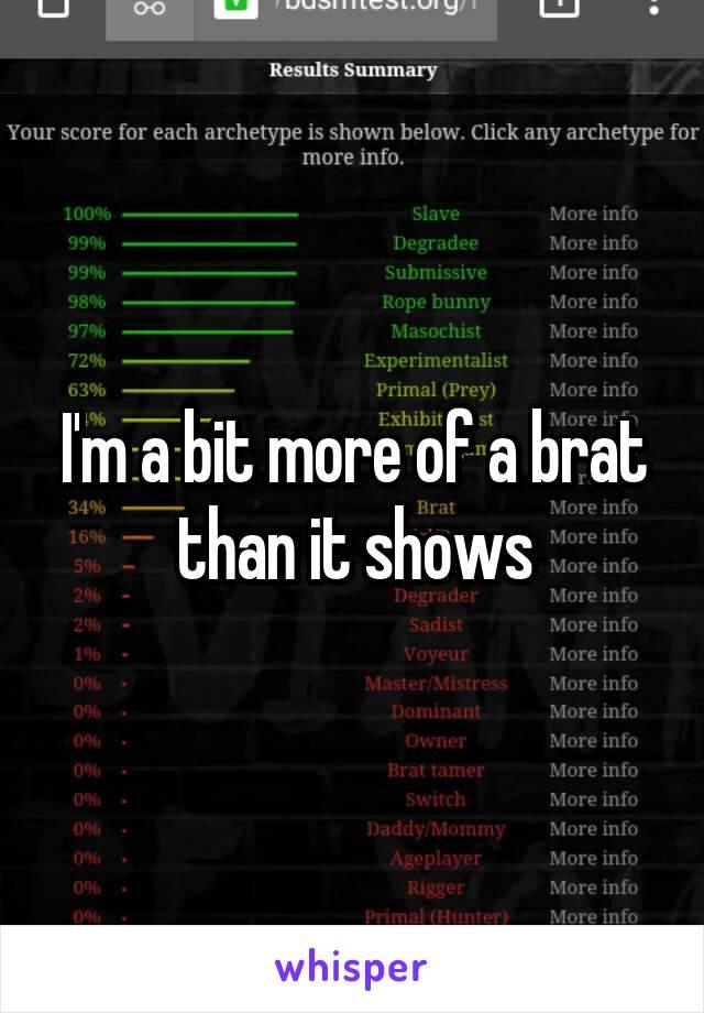 I'm a bit more of a brat than it shows