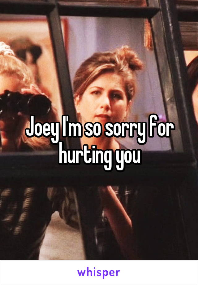 Joey I'm so sorry for hurting you