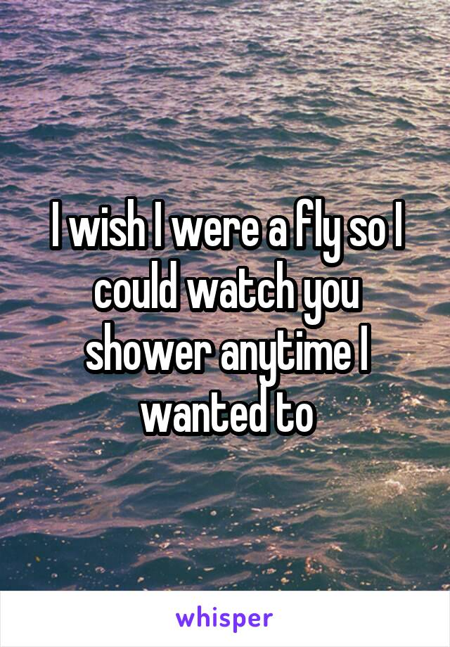 I wish I were a fly so I could watch you shower anytime I wanted to