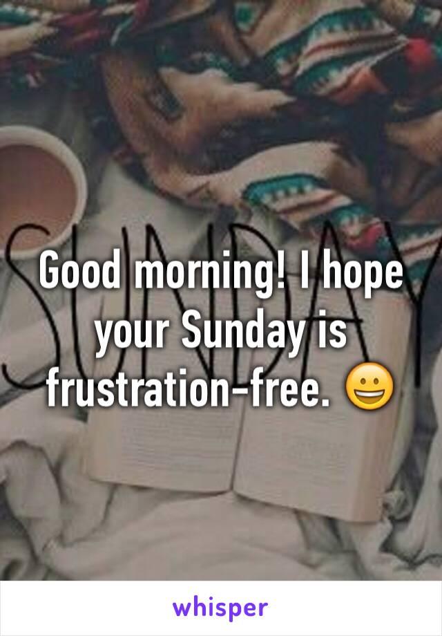 Good morning! I hope your Sunday is frustration-free. 😀