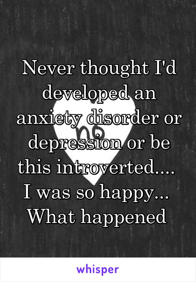 Never thought I'd developed an anxiety disorder or depression or be this introverted....  I was so happy...  What happened