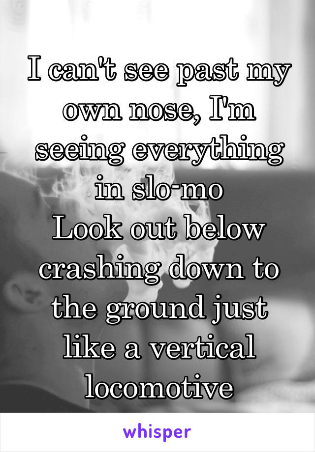 I can't see past my own nose, I'm seeing everything in slo-mo Look out below crashing down to the ground just like a vertical locomotive