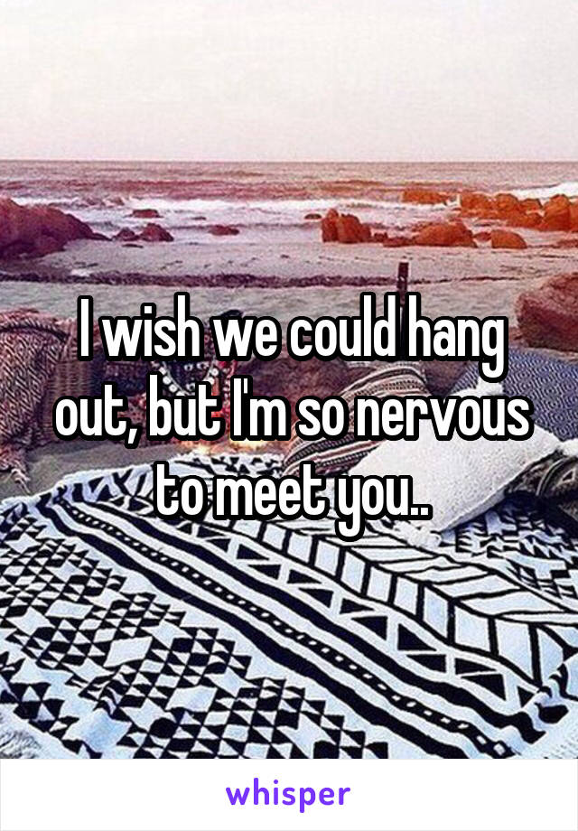 I wish we could hang out, but I'm so nervous to meet you..