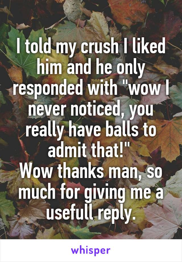"""I told my crush I liked him and he only responded with """"wow I never noticed, you really have balls to admit that!""""  Wow thanks man, so much for giving me a usefull reply."""