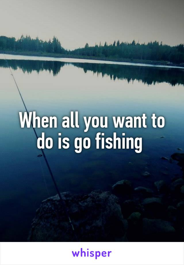 When all you want to do is go fishing