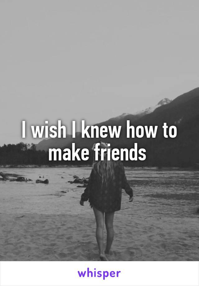 I wish I knew how to make friends