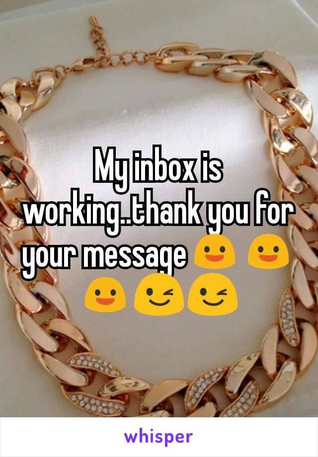 My inbox is working..thank you for your message😃😃😃😉😉
