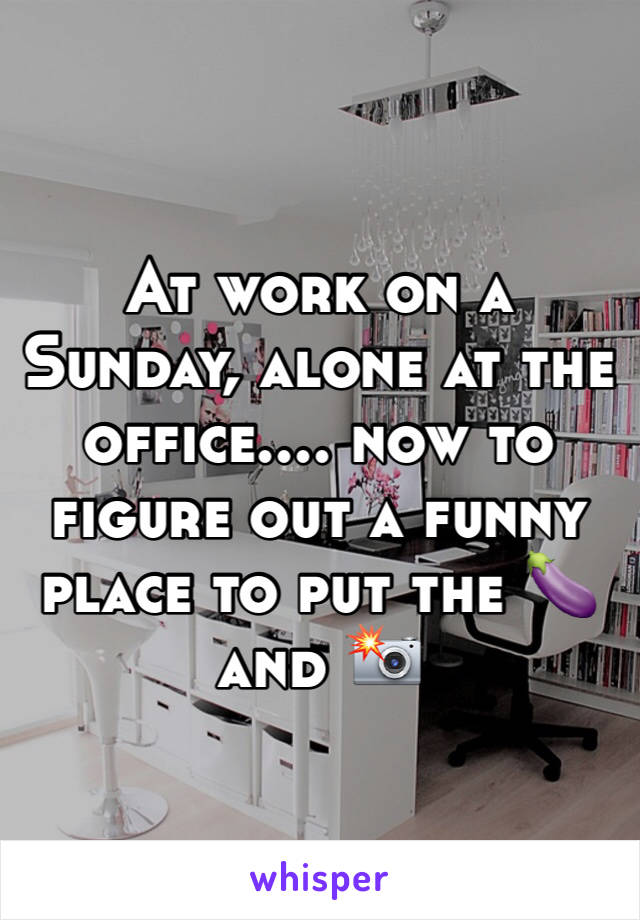 At work on a Sunday, alone at the office.... now to figure out a funny place to put the 🍆 and 📸