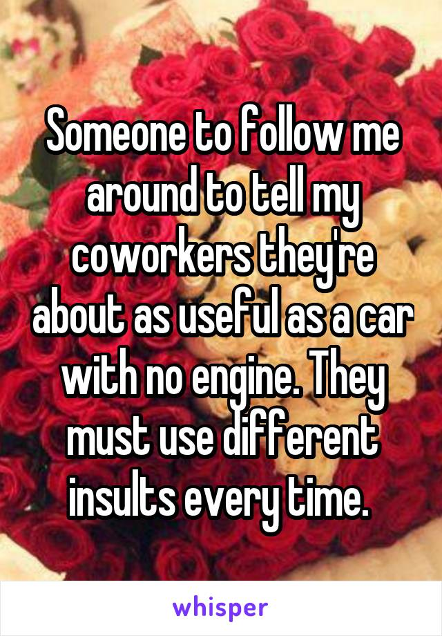 Someone to follow me around to tell my coworkers they're about as useful as a car with no engine. They must use different insults every time.